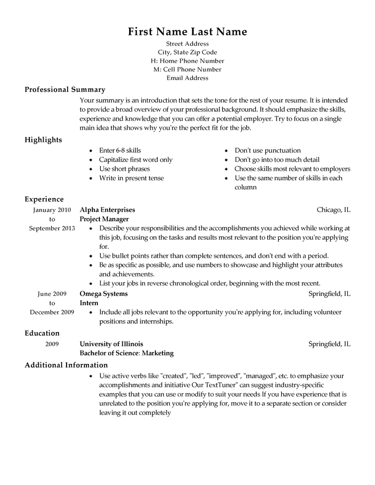 Traditional Resume Templates – Graduate Jobs & Internships & Careers