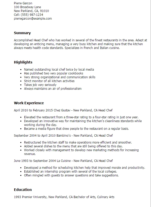 Resume Template Head Chef